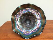RARE Northwood Blue Daisy & Plume 3 Footed Bowl Blackberry Interior