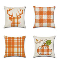 "17x17"" Orange Pumpkin Plaid Pillow Case Linen Sofa Waist Throw Cushion Cover"