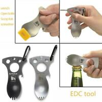 Multifunction Opener Spoon Spork Fork Wrench Combination Outdoor Camping Tool US