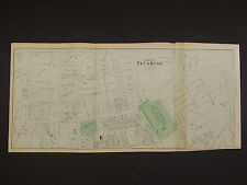 New York Long Island Map 1873 City of Flushing 2 Double Page 1 Single Page N3#62