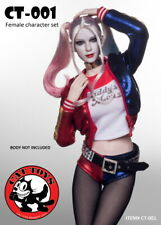 CAT TOYS 1/6 CT001 Harley Quinn Female Head Sculpt Carving Clothing Doll No Body