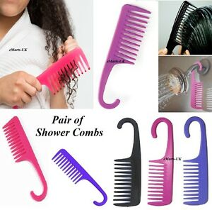 2 LARGE SALON HAIRDRESSING SHOWER COMB WIDE TOOTH DETANGLER WET HAIR BRUSH COMBS