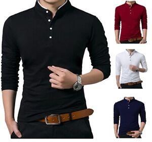 Men's Grandad Shirts Polo Shirt Long Sleeve Mandarin Collar Slim Fit Pique PL14