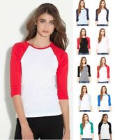 *Bella+Canvas Women's Baby Rib 3/4 Sleeve Contrast Raglan T-Shirt-B2000 2000-New