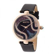 Bertha Trisha Women's Rose Gold Crystal Black Leather Watch BR8003