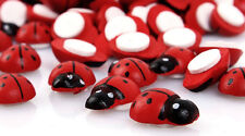 """Lot of 10 Small RED LADYBUG Stick-on Wooden Button 3/8"""" Scrapbook Craft (1019)"""
