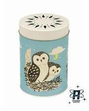 NEW JOHN HANNA VINTAGE 50S STYLE ROUND BLUE OWL METAL STORAGE TIN CANISTOR