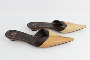 FLUXA Mule Flat Pointed all Leather Brown Beige T 39 Very Good Condition