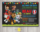 Printable Boy Personalised Birthday Chalkboard Invitation Paw Patrol Any Age