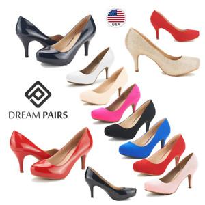 DREAM PAIRS Women Low Stilettos Heel Elegant Wedding Party Slip On Pump Shoes