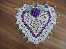 New Handmade Crochet Rose Heart Doily w/ Crystal Glass Beads