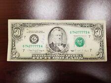 1990 Chicago $50 Dollar Bill Note FRN ~ G74277773A