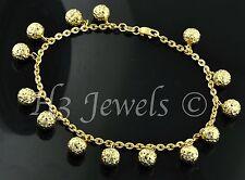 18k yellow gold charm bracelet ball  bracelet  diamond cut 5.30 h3jewels #844
