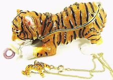 Tiger Cub with Pacifier Jeweled Pewter Trinket Box wildlife with Necklace