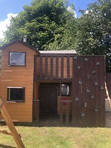 2 Storey Wooden Playhouse Treehouse With Climing Wall And Swing