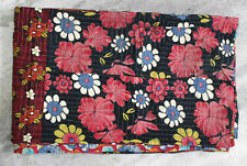 Vintage Kantha Quilt Rali Bedspread Twin Reversible Indian Sari Throw Boho Decor