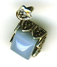 925 Sterling Silver Marcasite & Chalcedony Square Pendant    Length 7/8""