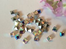 Vintage Preciosa Square 4x4mm Foiled Rhinestone Crystal Titania Pack 12 CRAFT