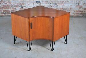 Mid Century G-plan Fresco teak corner cabinet on hairpin legs
