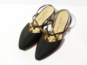 Vintage Charles Jourdan Ladies Low Heel Sandals Black & Gold Slingback Unworn