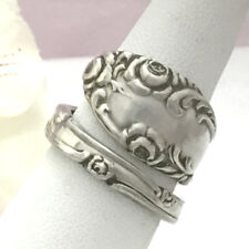 Sterling Silver Rose Spoon Ring OLD ENGLISH Silverware Jewelry,Custom Size 8-13