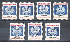 US, #O127-O133 Official Mail USA set 7 stamps, FV $6.49, MNH