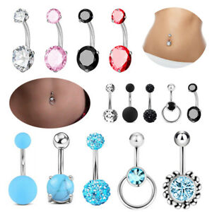 5PCS Belly Button Rings Navel Bars Surgical Steel Stone Body Piercing Jewellery