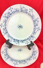 Arcopal Glenwood Dinner Plate White Opaque Glass Blue Floral Design - Set of 4