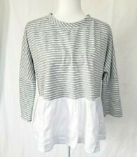 Anthropologie Gray White Striped Sweater Top Small