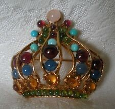 SWOBODA CROWN PIN BROOCH ~ ASSORTED GEM STONES ~ FIT FOR ROYALTY
