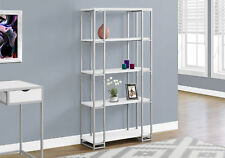 """Monarch Specialities Bookcase - 60""""H / White / Silver Metal (I7242)"""