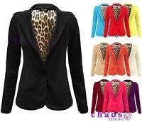 Ladies Animal Print Leopard Lining Smart Blazer Womens Jacket Plus Sizes 8-20
