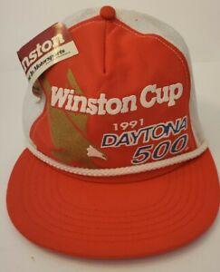 Vintage 1991 Daytona 500 Trucker Hat NASCAR Winston Cup Series Snapback Mesh NWT