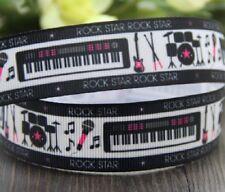 ROCK STAR MUSIQUE PIANO GUITARE ** 25 mm ** RUBAN GROS GRAIN - vendu au mètre