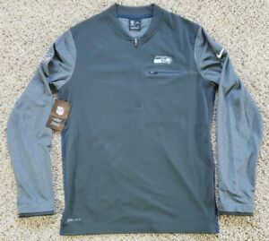 RARE NIKE ON FIELD SEATTLE SEAHAWKS COACHES HALF ZIP PULLOVER SMALL GRAY SWEATER