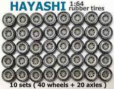1/64 rubber tires - Hayashi rims fit Hot Wheels Datsun diecast cars - 10 sets C