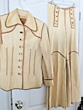 WOMENS DESIGNER COLLECTIBLE VINTAGE 1970s PITIQUITO LEATHER PANTS JACKET M 11/12