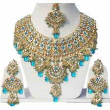 Gold Plated Jodha's Kundan Zerconic Bollywood Necklace Set Jewelry ES5-