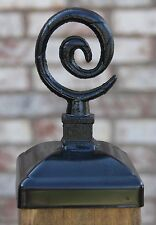 Wrought Iron Spiral cap for 4x4 wood post, fence post top, Wood Deck Mailbox Top