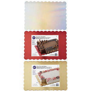 Wilton 3pk Scalloped Greaseproof Cake Decorating Board Platters 13 x 19 inches