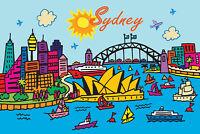 Australia poster large sydney harbour bridge art print modern blue