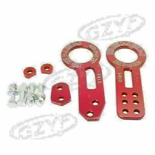 Universal Front Rear Racing Tow Towing Hook Ring Kit Set Red CNC Aluminum New