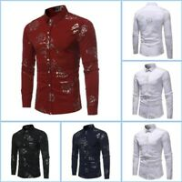 Casual Long Sleeve Floral Luxury Dress Shirts Top Stylish Slim Fit Shirt Mens