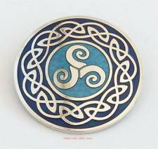 Celtic Triskele blue Brooch Triskelion Sea Gems Gift Jewellery silver plate NEW