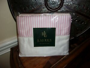 New Ralph Lauren Worth Avenue Pink Stripe White Cuffed Queen Flat Sheet