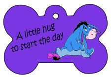 Eeyore Hug Winne Pooh Dog Pet Cat ID Tag Bone Shape Personalized Key Ring Image