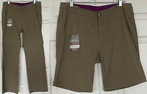 NWT Eddie Bauer Travex Convertible Pants Shorts Water Resist UPF 50 Women Sz 12