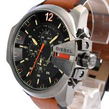 DIESEL DZ4343 Mega Chief Black Borwn Leather Mens Watch Stainless Steel Chrono