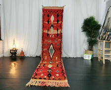 """Boujad Moroccan Handmade Vintage Runner 2'3""""x10'9"""" Geometric Red Berber Wool Rug"""