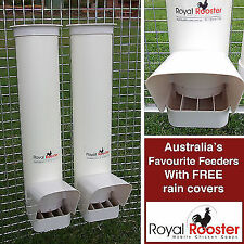 ROYAL ROOSTER Chicken / Poultry Coop Feeder - Two Feeders
